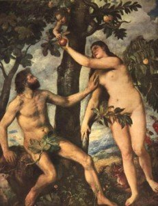 Adam, Eve, Cain et Abel dans Adam, Eve, Cain et Abel adam-et-eve-de-titien-musee-du-prado1-231x300